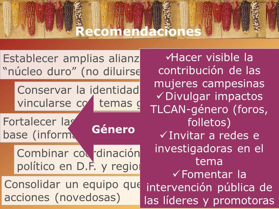 Recomendaciones Establecer amplias alianzas mantener el núcleo duro (no diluirse). Hacer visible la contribución de las mujeres campesinas.