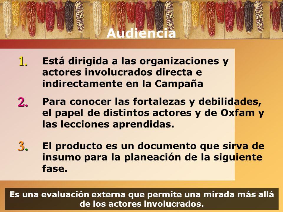 Audiencia 1. Está dirigida a las organizaciones y actores involucrados directa e indirectamente en la Campaña.