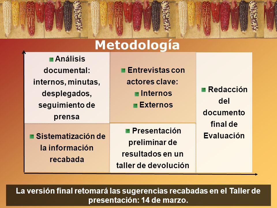 Metodología Análisis documental: internos, minutas, desplegados, seguimiento de prensa. Entrevistas con actores clave: