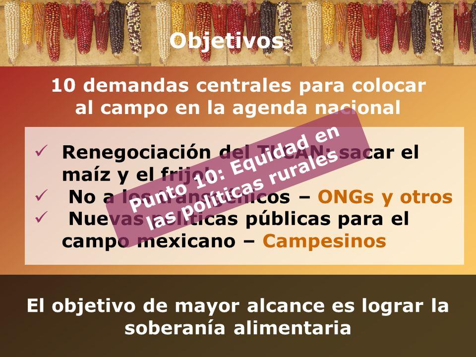 Objetivos 10 demandas centrales para colocar al campo en la agenda nacional. Renegociación del TLCAN: sacar el maíz y el frijol.