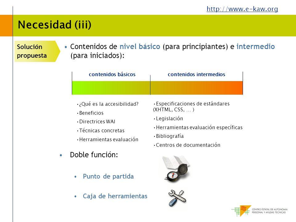 Necesidad (iii) Solución propuesta. Contenidos de nivel básico (para principiantes) e intermedio (para iniciados):