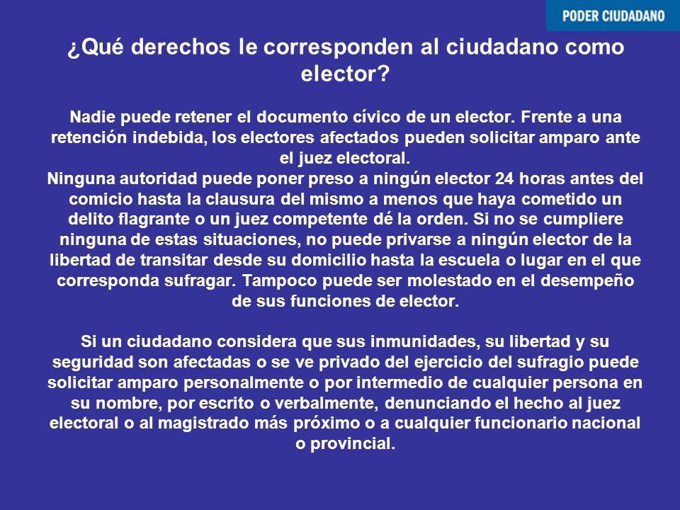 ¿Qué derechos le corresponden al ciudadano como elector