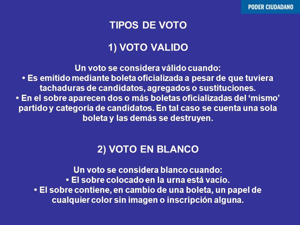TIPOS DE VOTO 1) VOTO VALIDO Un voto se considera válido cuando: • Es emitido mediante boleta oficializada a pesar de que tuviera tachaduras de candidatos, agregados o sustituciones.