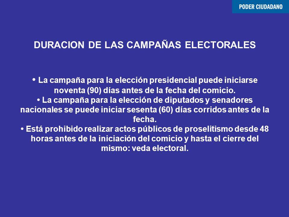 DURACION DE LAS CAMPAÑAS ELECTORALES • La campaña para la elección presidencial puede iniciarse noventa (90) días antes de la fecha del comicio.