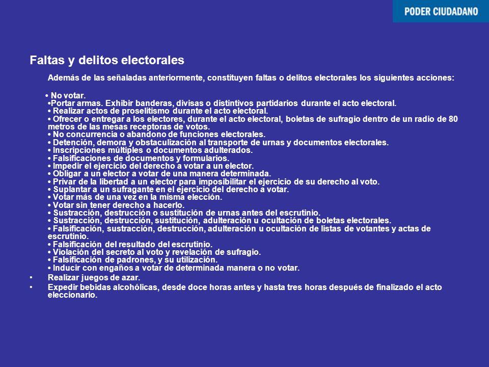 Faltas y delitos electorales Además de las señaladas anteriormente, constituyen faltas o delitos electorales los siguientes acciones: