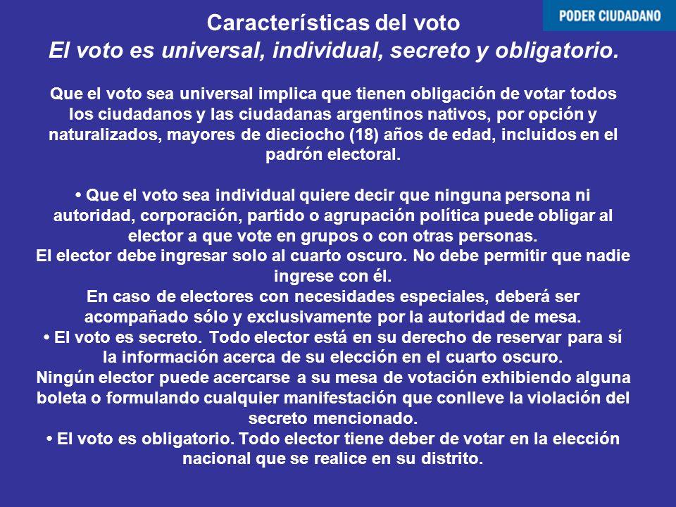 Características del voto El voto es universal, individual, secreto y obligatorio.