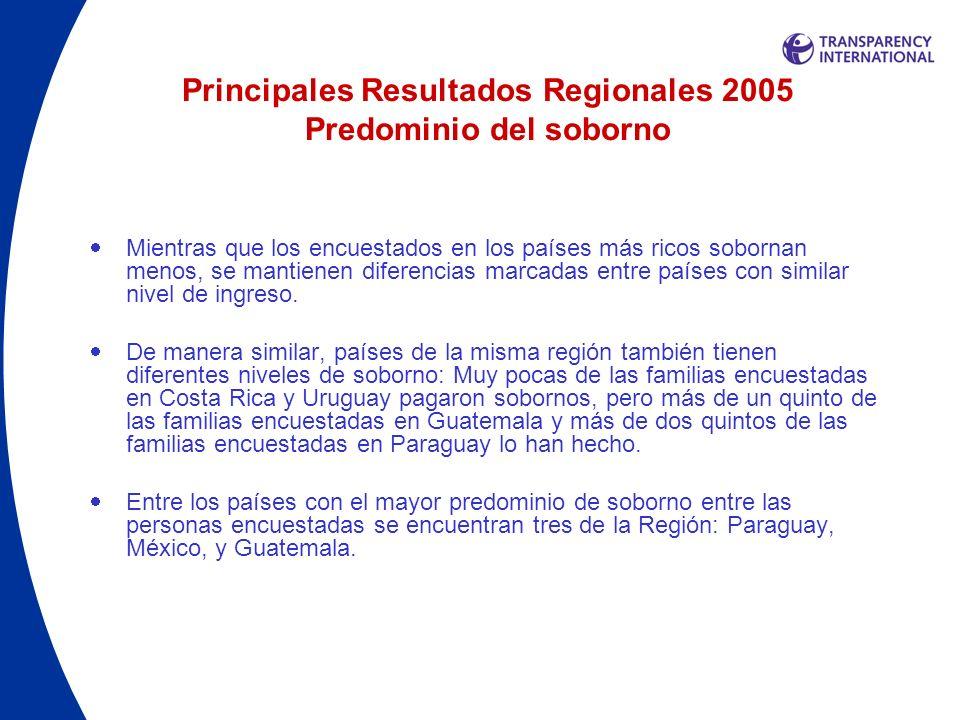 Principales Resultados Regionales 2005 Predominio del soborno