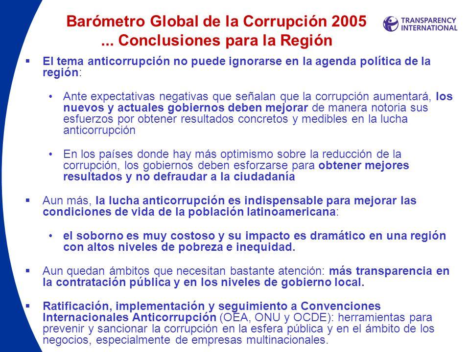 Barómetro Global de la Corrupción 2005 ... Conclusiones para la Región