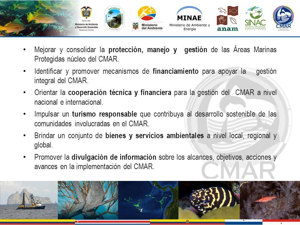 Mejorar y consolidar la protección, manejo y gestión de las Áreas Marinas Protegidas núcleo del CMAR.