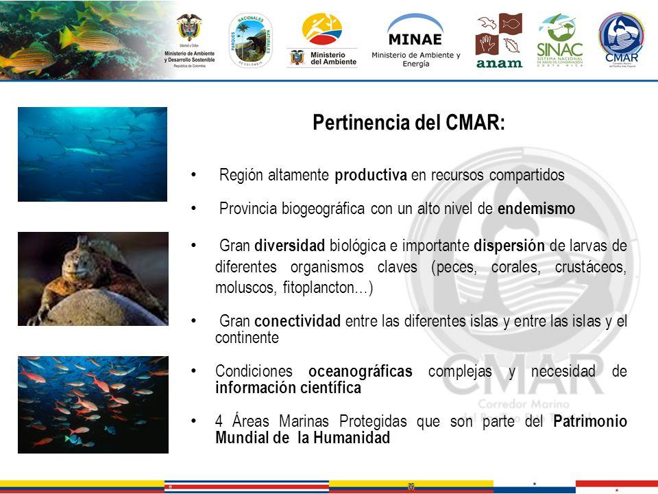 Pertinencia del CMAR: Región altamente productiva en recursos compartidos. Provincia biogeográfica con un alto nivel de endemismo.