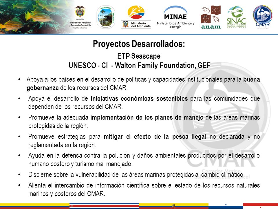 Proyectos Desarrollados: UNESCO - CI - Walton Family Foundation, GEF