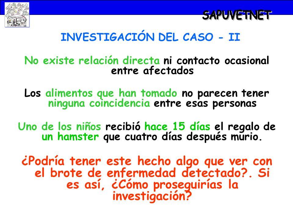 SAPUVETNET INVESTIGACIÓN DEL CASO - II. No existe relación directa ni contacto ocasional entre afectados.