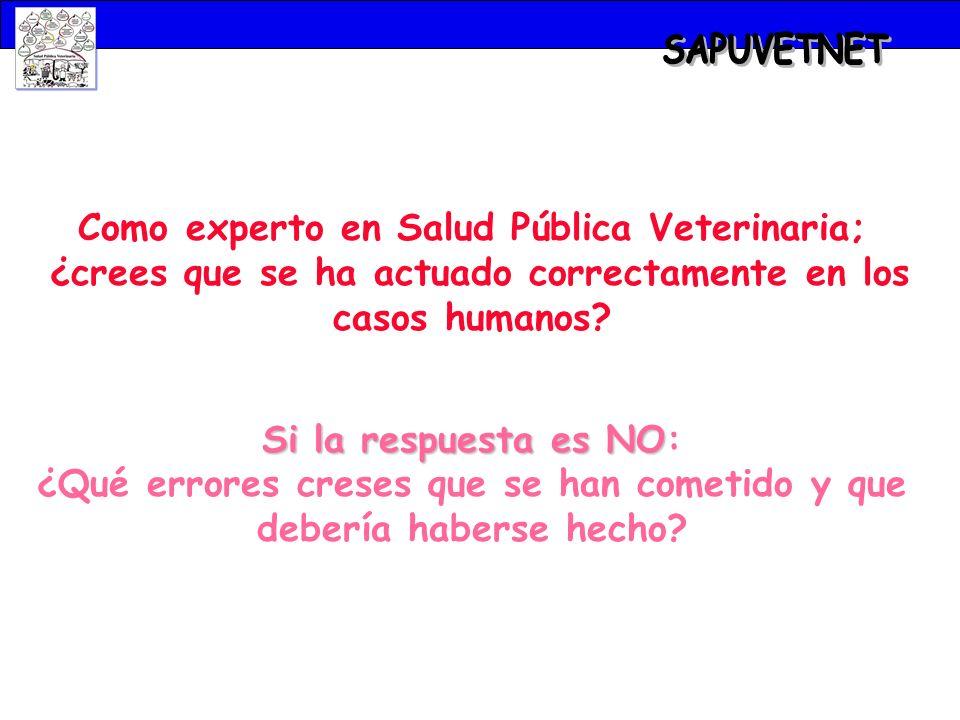 SAPUVETNET Como experto en Salud Pública Veterinaria;
