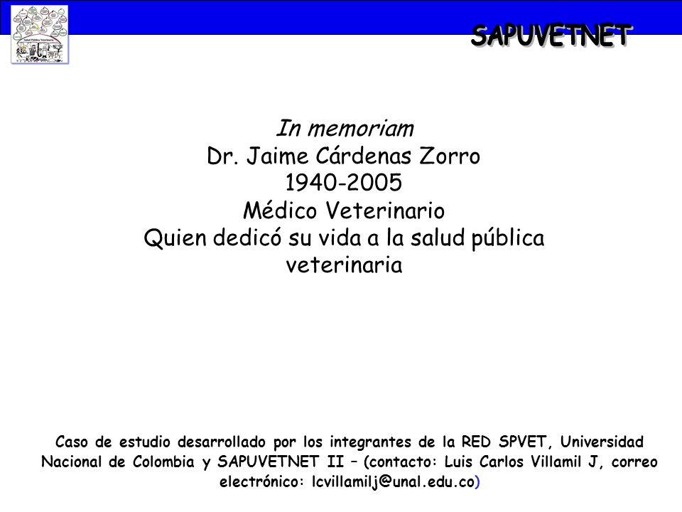 SAPUVETNET In memoriam Dr. Jaime Cárdenas Zorro 1940-2005