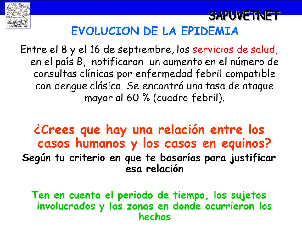 SAPUVETNET EVOLUCION DE LA EPIDEMIA.