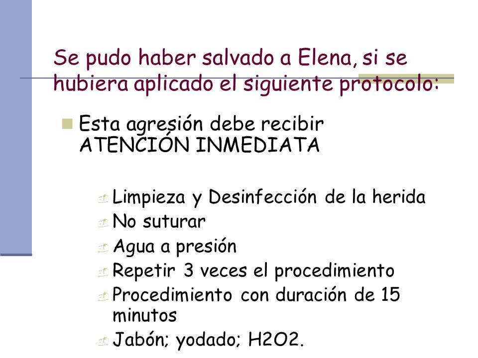 Se pudo haber salvado a Elena, si se hubiera aplicado el siguiente protocolo: