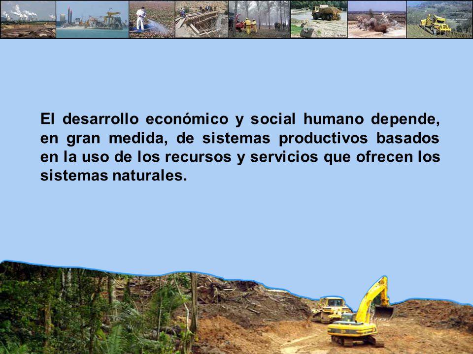 El desarrollo económico y social humano depende, en gran medida, de sistemas productivos basados en la uso de los recursos y servicios que ofrecen los sistemas naturales.