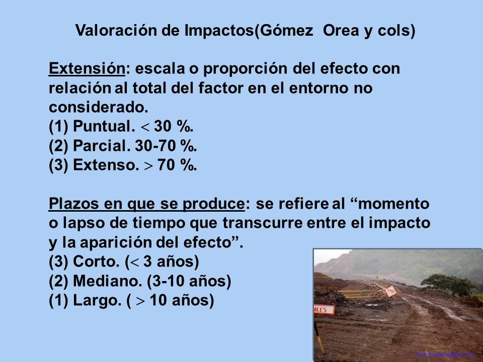 Valoración de Impactos(Gómez Orea y cols)