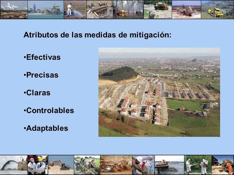 Atributos de las medidas de mitigación: