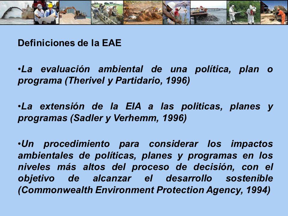 Definiciones de la EAE La evaluación ambiental de una política, plan o programa (Therivel y Partidario, 1996)