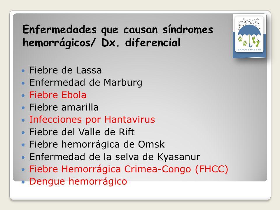 Enfermedades que causan síndromes hemorrágicos/ Dx. diferencial