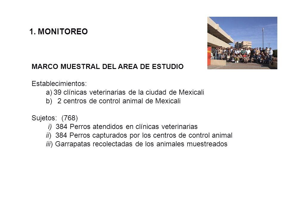 1. MONITOREO MARCO MUESTRAL DEL AREA DE ESTUDIO Establecimientos: