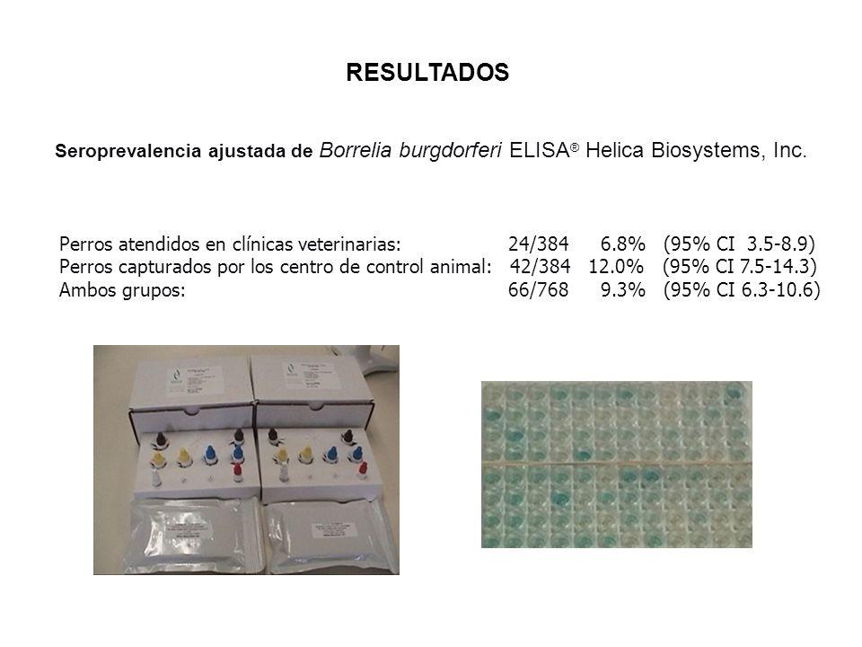 RESULTADOS Seroprevalencia ajustada de Borrelia burgdorferi ELISA® Helica Biosystems, Inc.