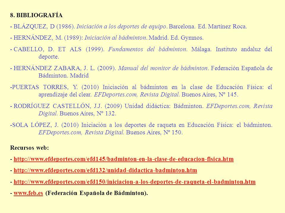 8. BIBLIOGRAFÍA - BLÁZQUEZ, D (1986). Iniciación a los deportes de equipo. Barcelona. Ed. Martínez Roca.