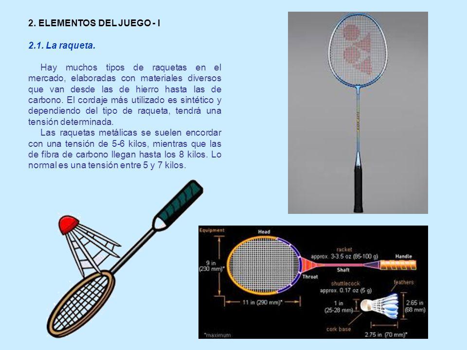 2. ELEMENTOS DEL JUEGO - I 2.1. La raqueta.