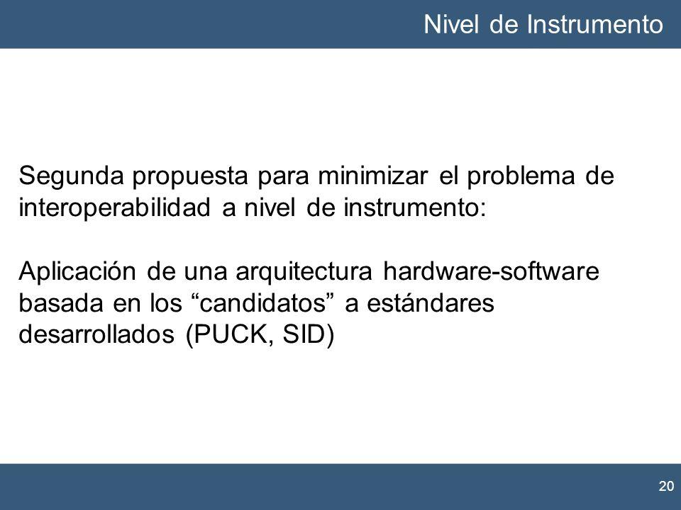 Nivel de InstrumentoSegunda propuesta para minimizar el problema de interoperabilidad a nivel de instrumento: