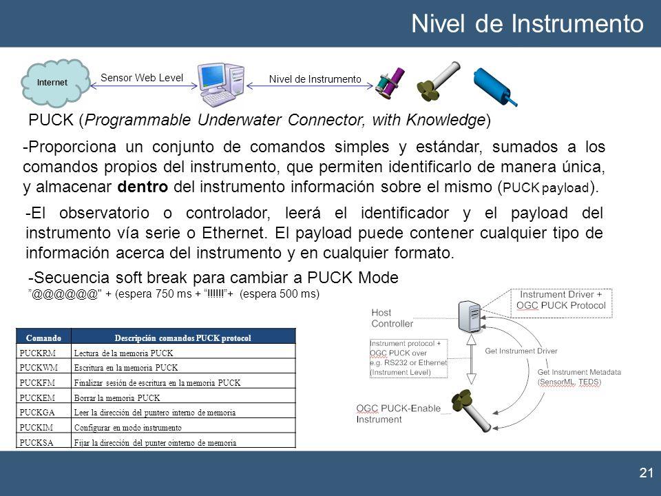 Descripción comandos PUCK protocol