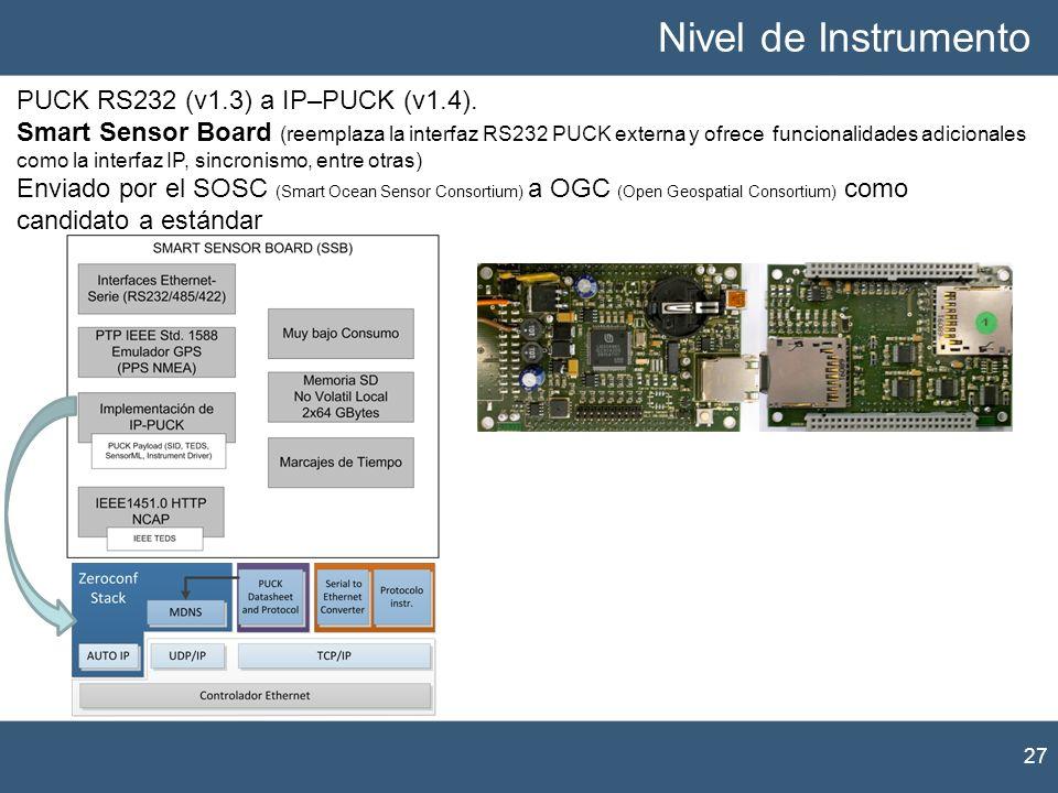 Nivel de Instrumento PUCK RS232 (v1.3) a IP–PUCK (v1.4).