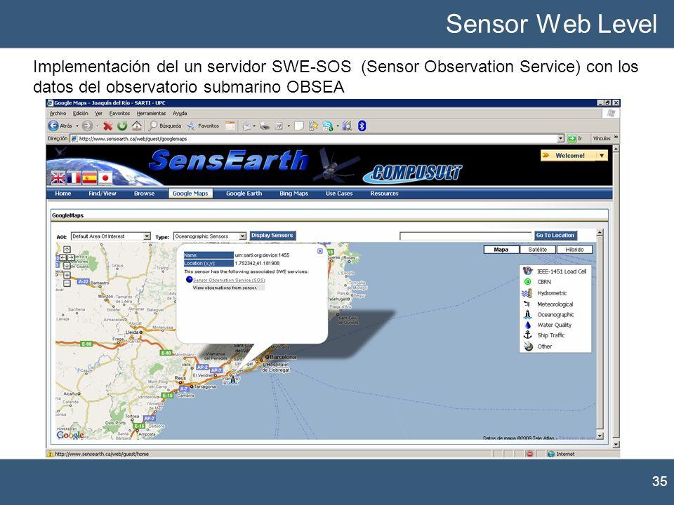 Sensor Web LevelImplementación del un servidor SWE-SOS (Sensor Observation Service) con los datos del observatorio submarino OBSEA.