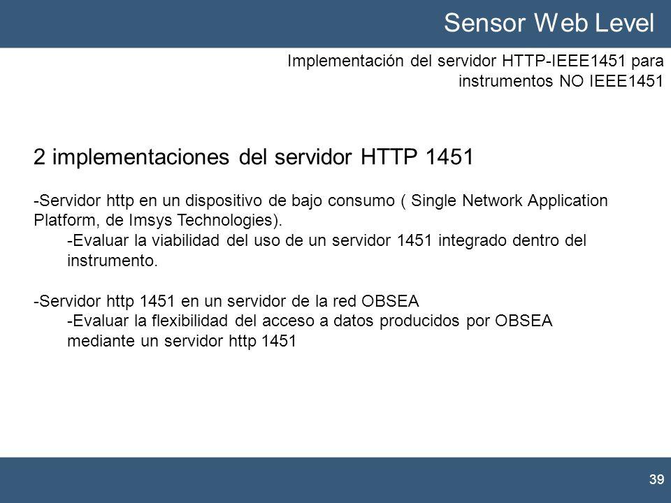 Sensor Web Level 2 implementaciones del servidor HTTP 1451