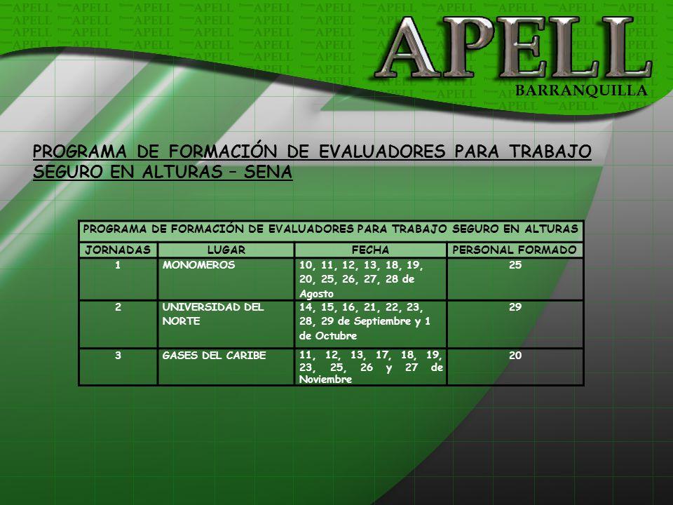 PROGRAMA DE FORMACIÓN DE EVALUADORES PARA TRABAJO SEGURO EN ALTURAS