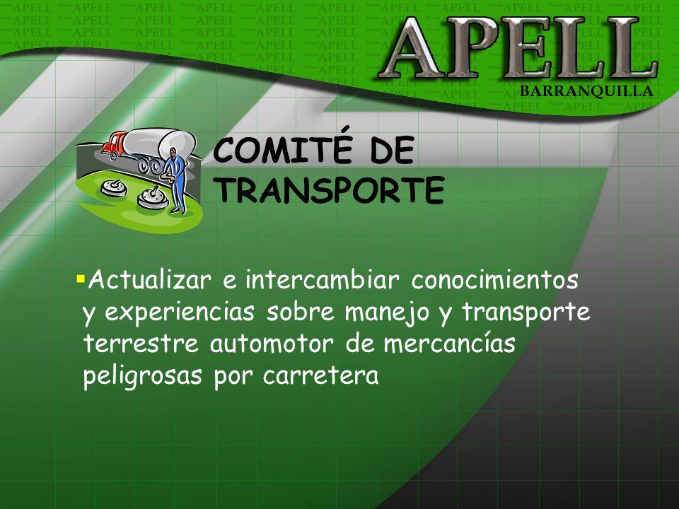 COMITÉ DE TRANSPORTE Actualizar e intercambiar conocimientos