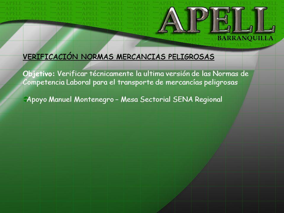 VERIFICACIÓN NORMAS MERCANCIAS PELIGROSAS
