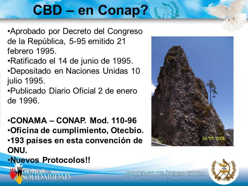 CBD – en Conap Aprobado por Decreto del Congreso de la República, 5-95 emitido 21 febrero 1995. Ratificado el 14 de junio de 1995.