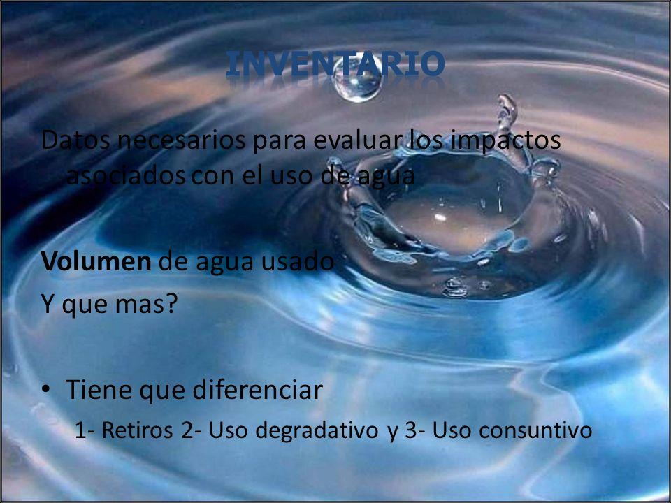 Inventario Datos necesarios para evaluar los impactos asociados con el uso de agua. Volumen de agua usado.