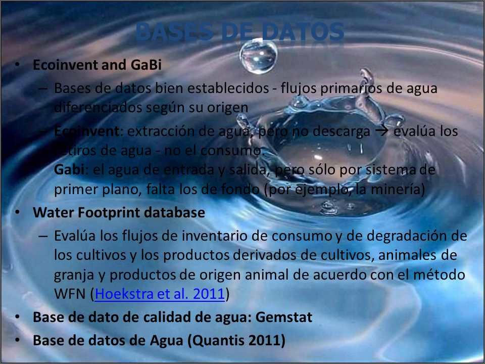 bases de datos Ecoinvent and GaBi