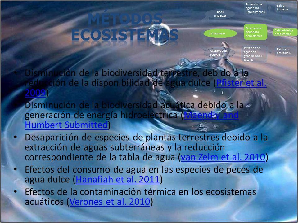 Métodos Ecosistemas. Disminución de la biodiversidad terrestre, debido a la reducción de la disponibilidad de agua dulce (Pfister et al. 2009)