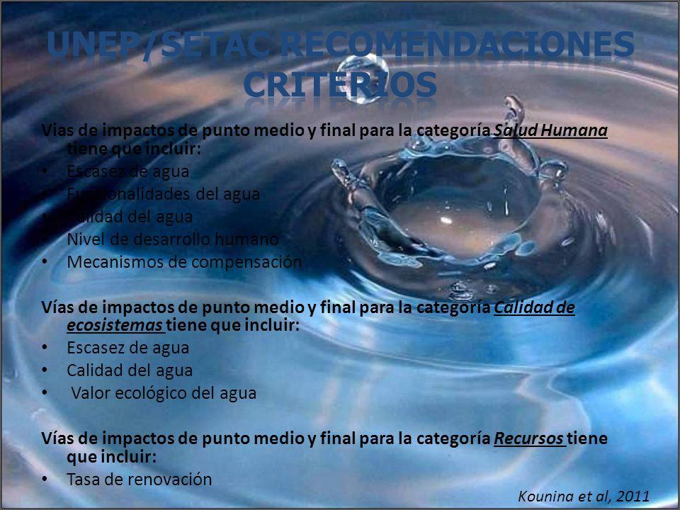 UNEP/SETAC Recomendaciones Criterios