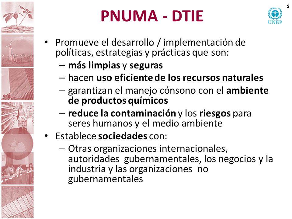 PNUMA - DTIE Promueve el desarrollo / implementación de políticas, estrategias y prácticas que son: