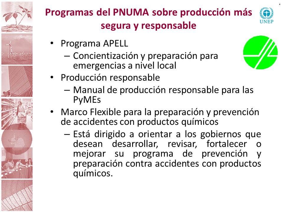Programas del PNUMA sobre producción más segura y responsable