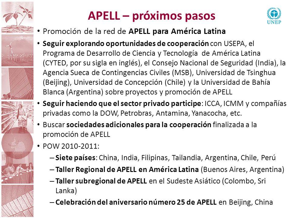 APELL – próximos pasos Promoción de la red de APELL para América Latina.