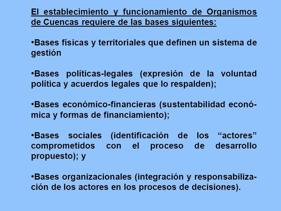 El establecimiento y funcionamiento de Organismos de Cuencas requiere de las bases siguientes: