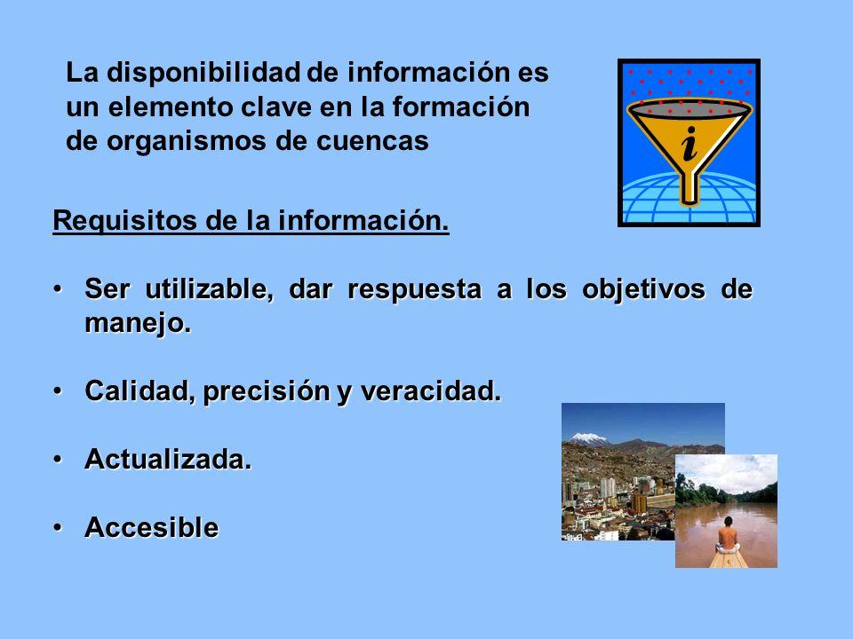 La disponibilidad de información es un elemento clave en la formación de organismos de cuencas