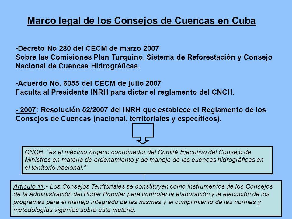 Marco legal de los Consejos de Cuencas en Cuba