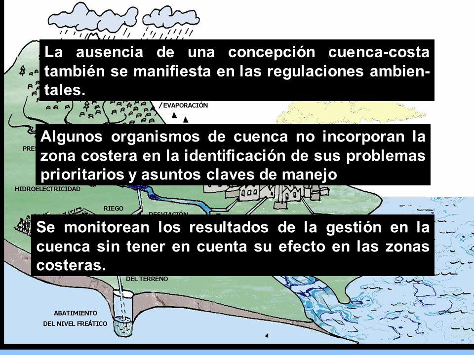 La ausencia de una concepción cuenca-costa también se manifiesta en las regulaciones ambien-tales.