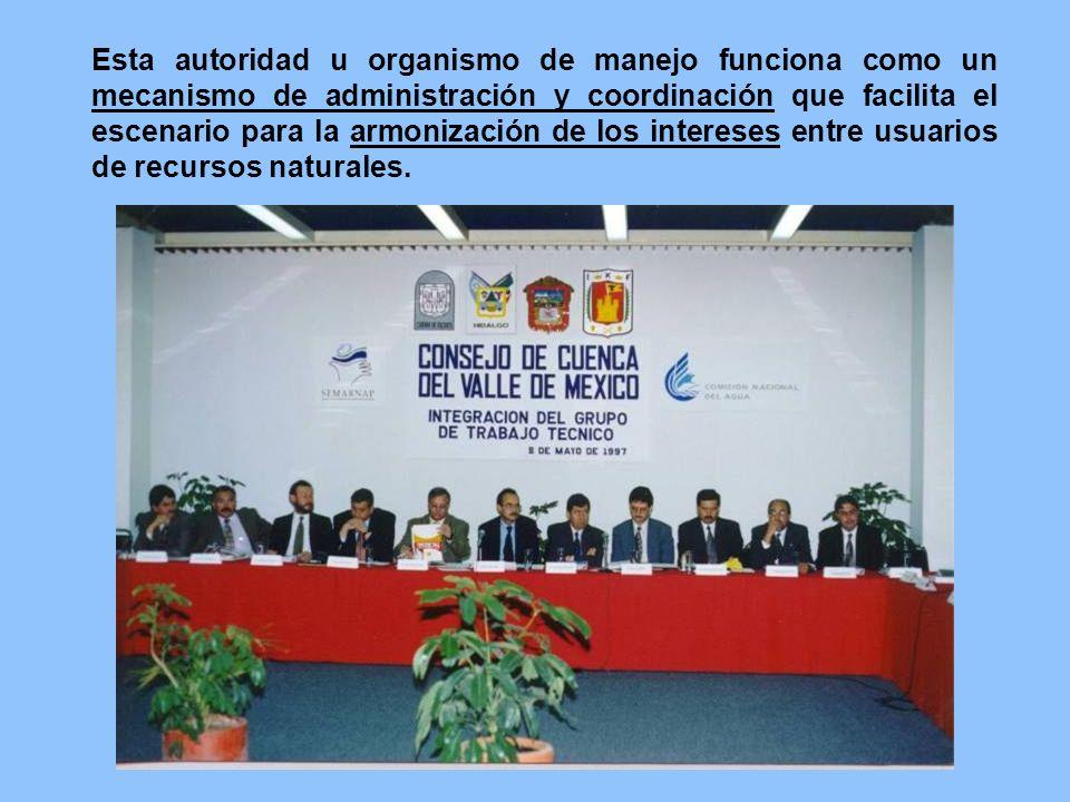 Esta autoridad u organismo de manejo funciona como un mecanismo de administración y coordinación que facilita el escenario para la armonización de los intereses entre usuarios de recursos naturales.